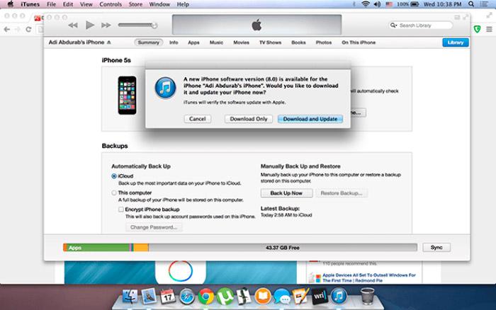 Actualizar iOS en iTunes