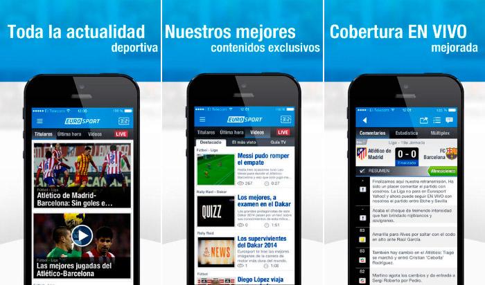 Aplicacion Eurosport para iPhone y iPad