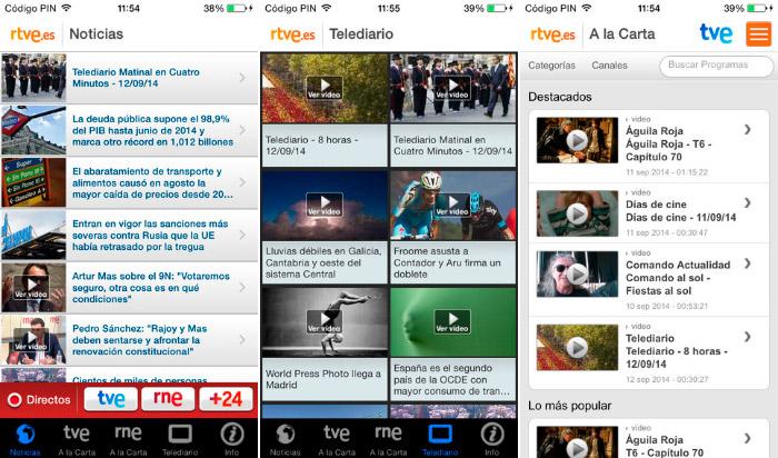 Aplicacion oficial de RTVE para iPhone y iPad