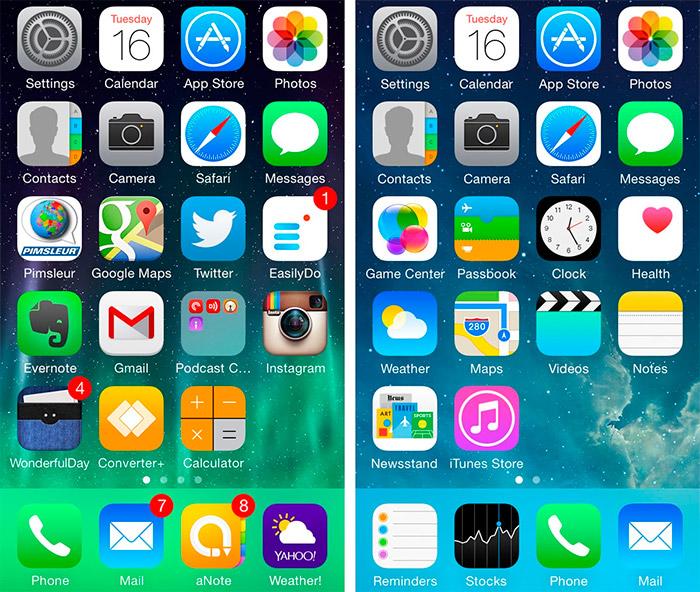Aspecto visual del iOS 7 y iOS 8