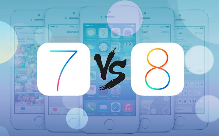 Comparación iOS 8 vs iOS 7