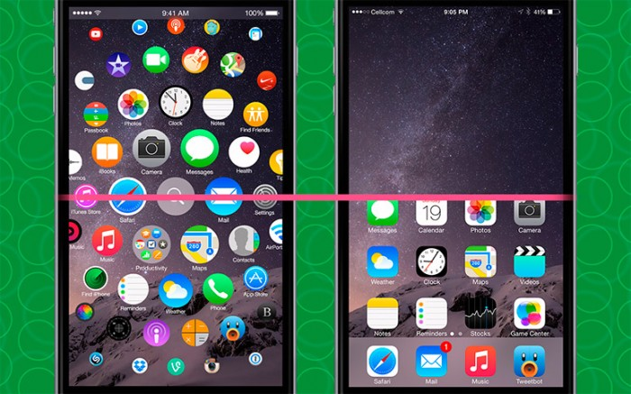 Comparativa interfaz en iPhone