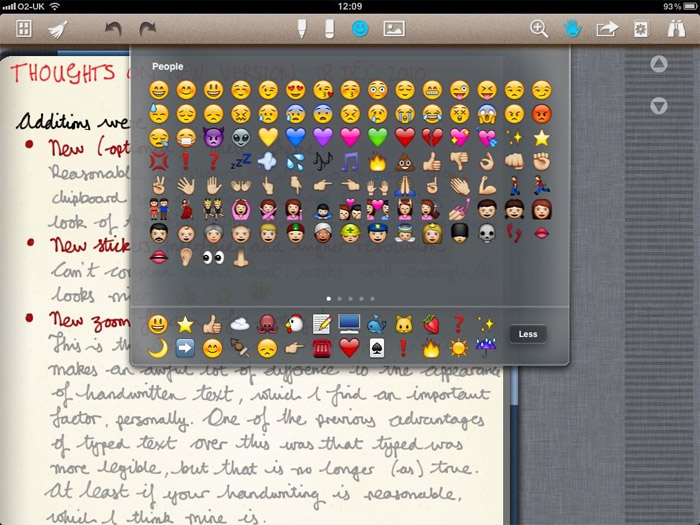 Emoticons en Noteshelf