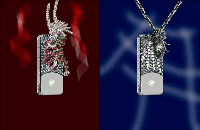 Funda de diamantes, rubíes y esmeraldas