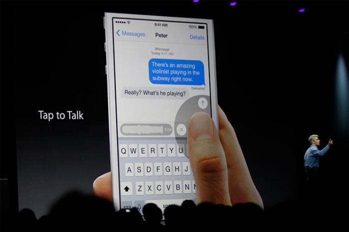 Notas de voz de la app Mensajes de iOS 8
