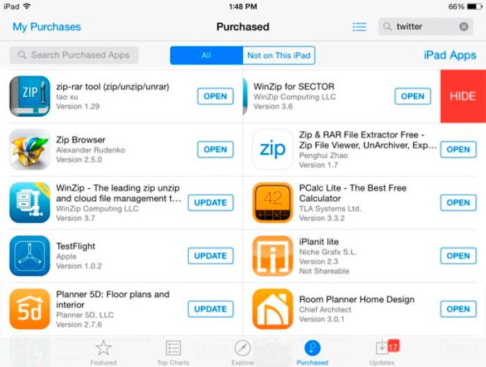 Ocultar compras en iPad