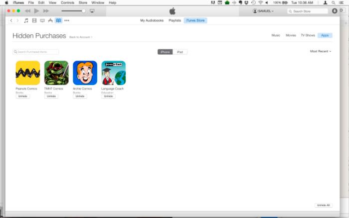 Ocultar compras en iTunes