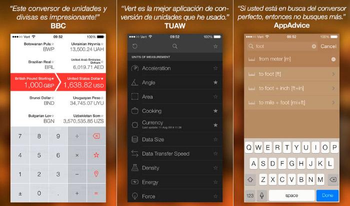 Vert, completo conversor de medidas para iOS