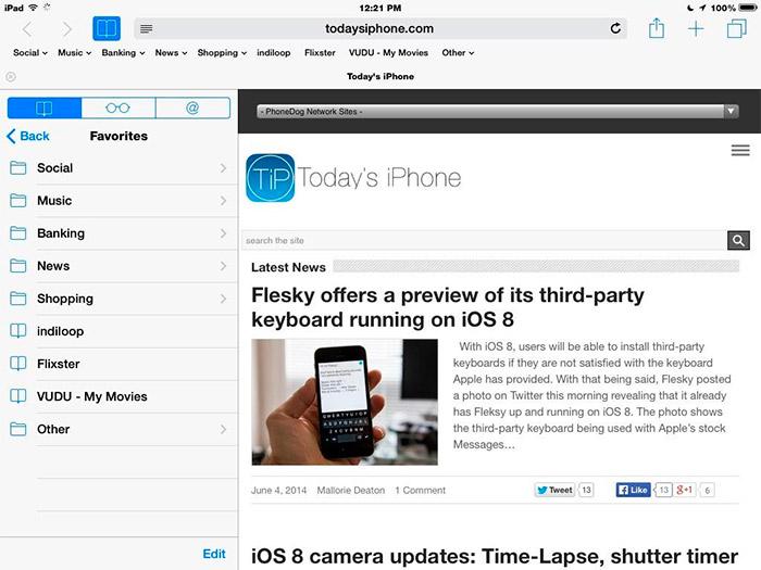 iOS 8 Safari